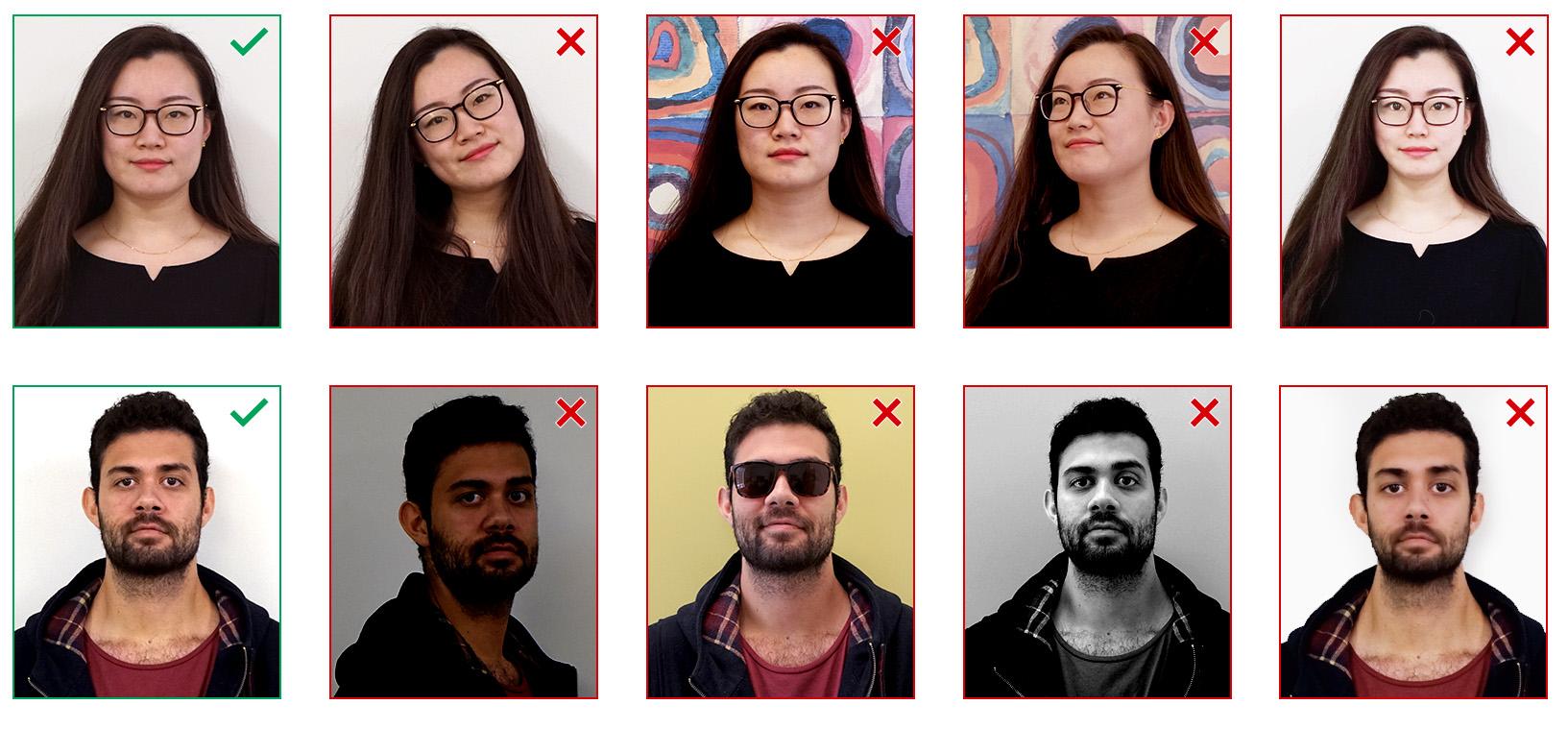 Example student card photos