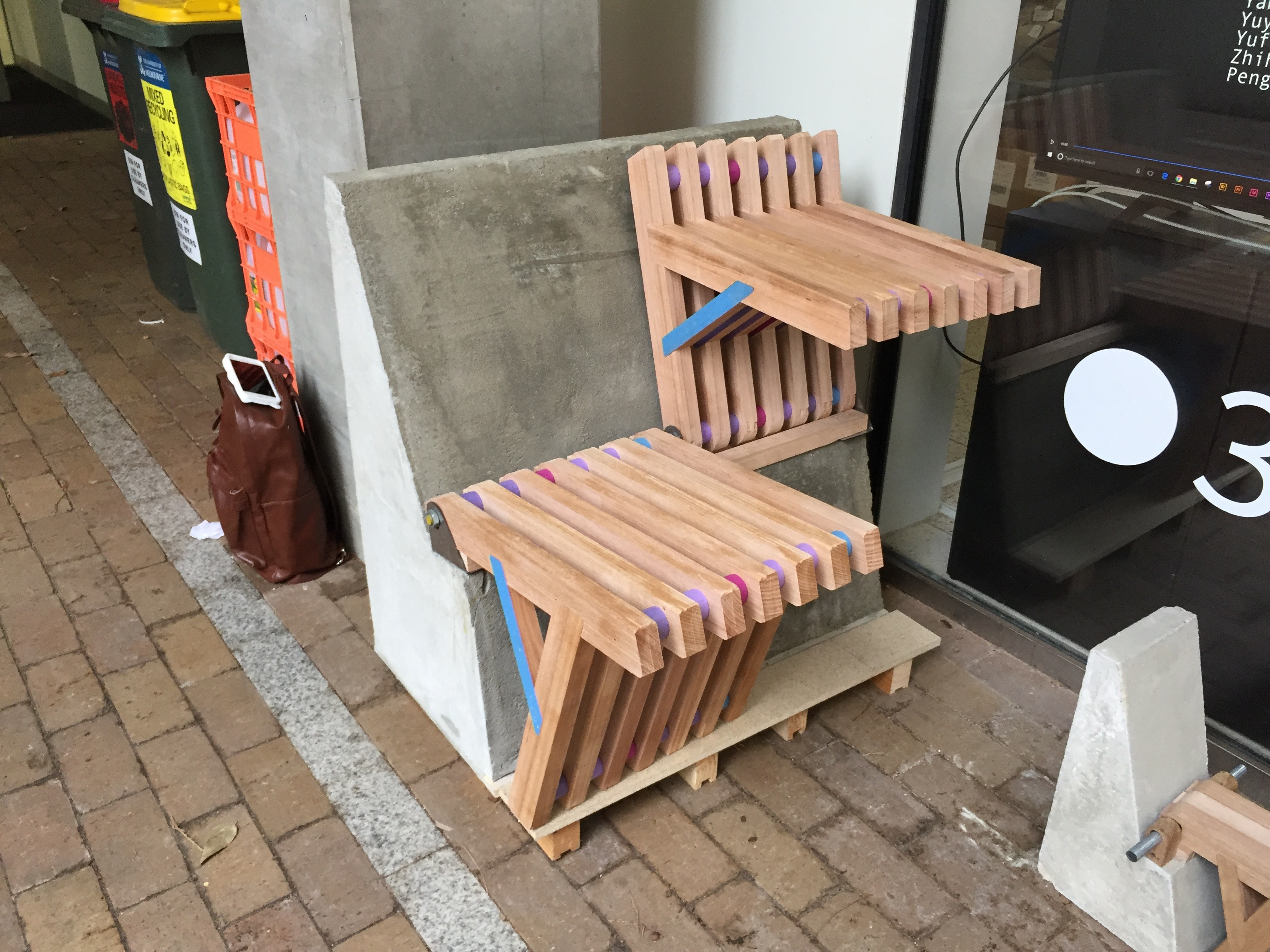 Photograph of completed prototype for the Flip Flop seat and bench
