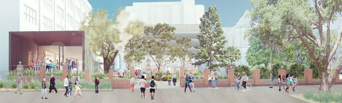 Design concept rendering showing the view of the new Murrup Barak Building and Gate 8 landscape from Grattan Street