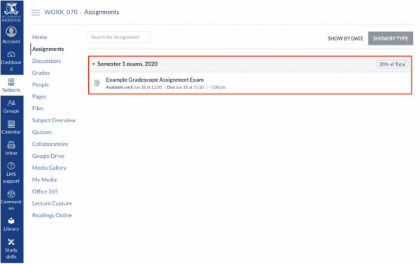 An example of the Gradescope Assignment setup in the LMS