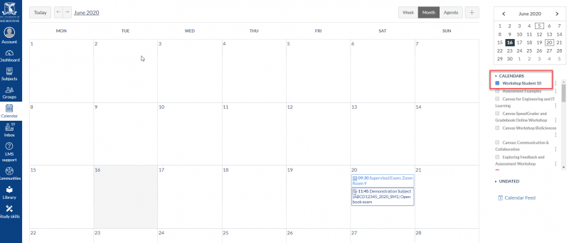 Zoom supervised exams in the LMS calendar