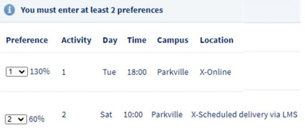 An example showing online classes will read ither x-Online or x-Scheduled Delivery via the LMS