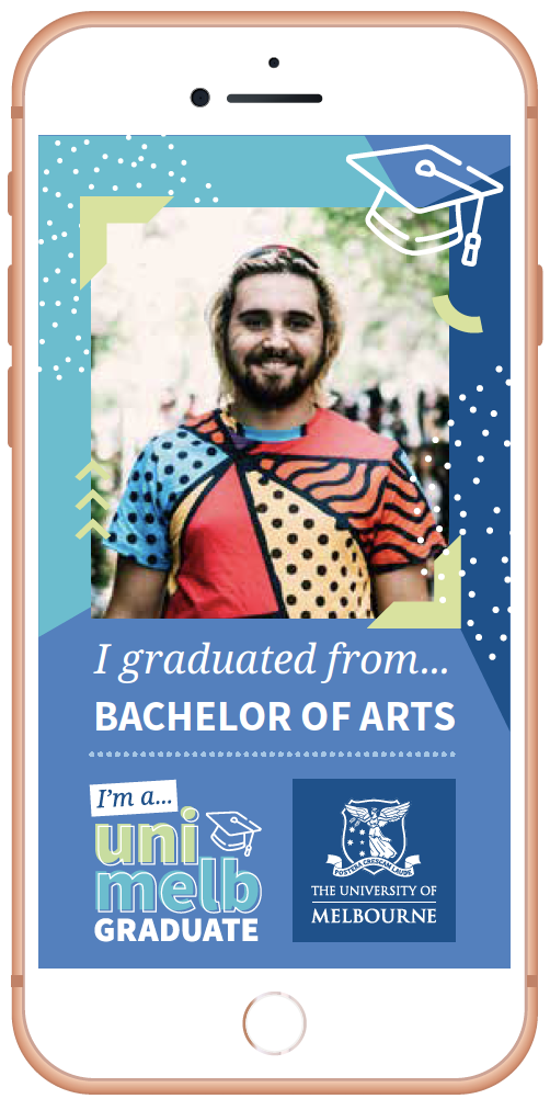 Photo of a graduating student in an Instagram filter
