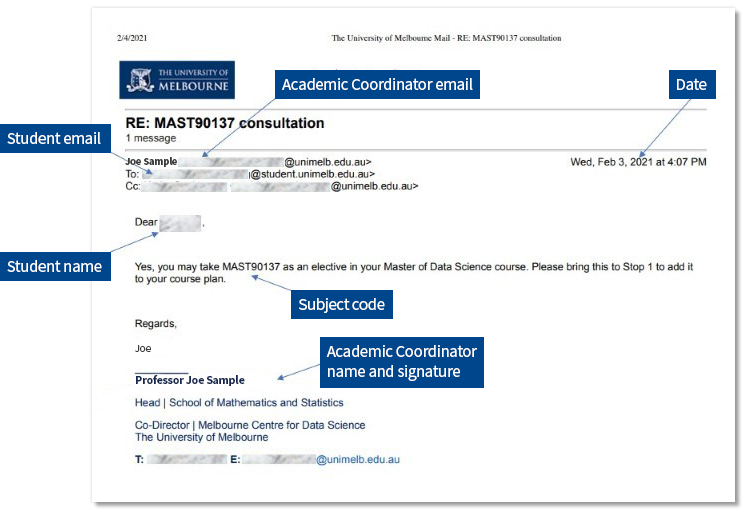 Sample email with arrows highlighting key information: student email, coordinator's details, student name, subject code and date.