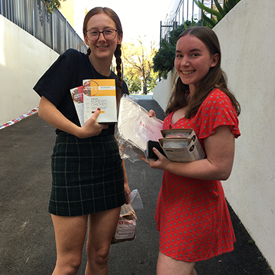Students receiving their free meal packs.