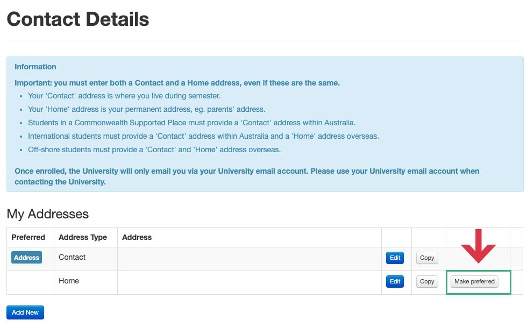 Screenshot indicating location of 'make preferred' button, next to copy button under My Addresses on eStudent