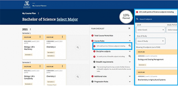 A screen shot of the 'plan checklist' section of 'My Course Planner'. A red cross on the checklist indicates a course rule has not been met. By selecting the checklist item, the user can search for subjects that meet the rule.