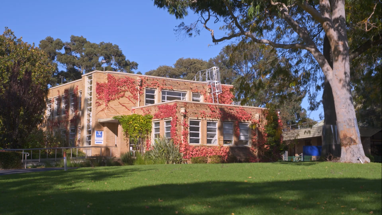 Photo of the Burnley campus front for zoom video background