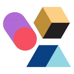 a series of brightly coloured, cartoonish polygons