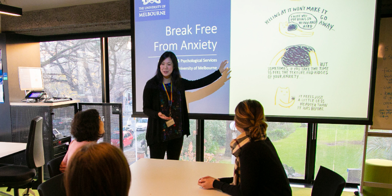 Counsellor presenting during Break Free From Anxiety workshop