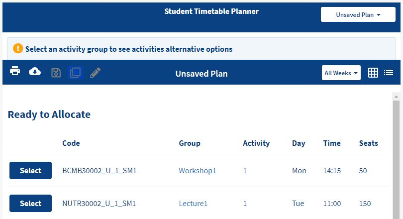 screenshot displaying MyTimetable Planner where the user has selected list view, forth icon on the top left, to view ready to allocate classes