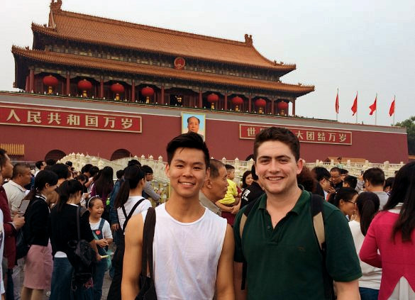 Photo of two students in China
