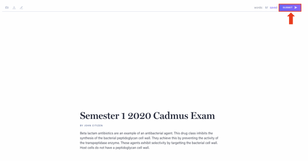 Cadmus exam submission in the LMS