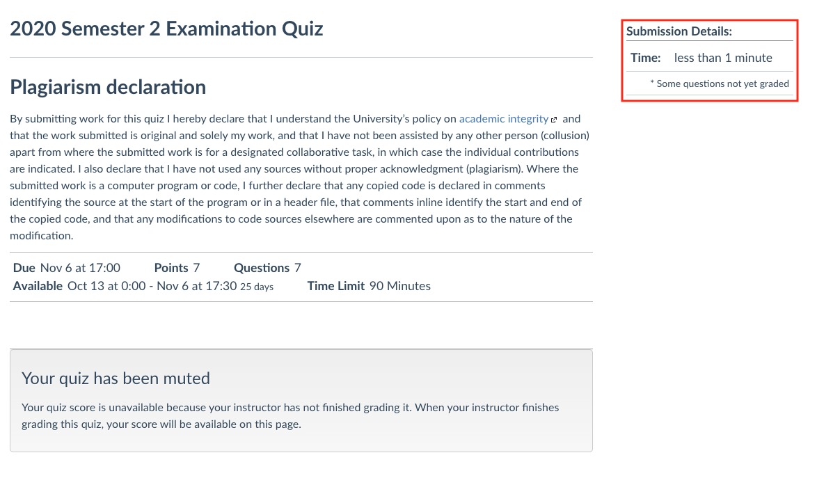 An example showing that you can find the time left in the quiz in the top right corner of the quiz page