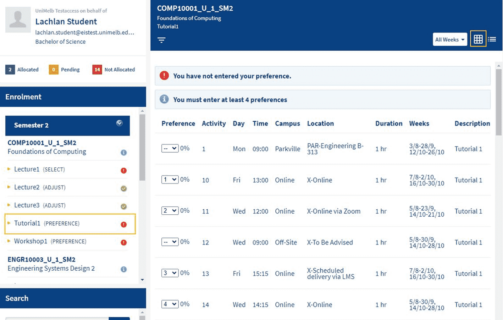 An image displaying a grid icon in the top right corner of the MyTimetable page