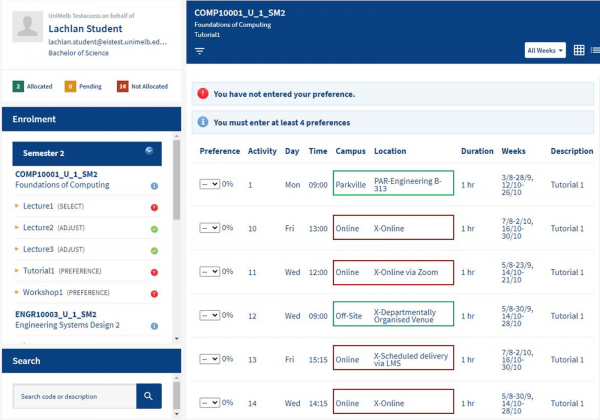 Screenshot from MyTimetable, indicating position of of 'Campus' and 'Location' fields on screen.