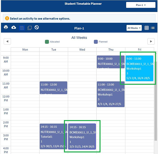 screenshot of MyTimetable where user is editing their plan. The class they have selected to edit has a dark blue border and the options for the class appear with a light blue background.