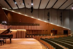 Photo of Hanson Dyer Hall Stage in the Ian Potter Southbank Centre room for Zoom background