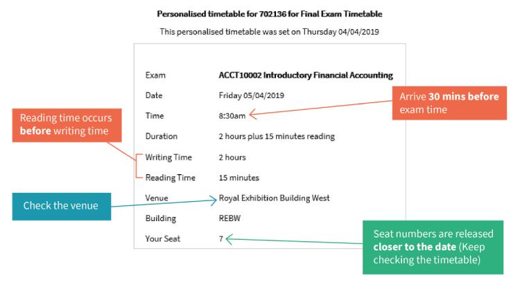 Timetable example screenshot