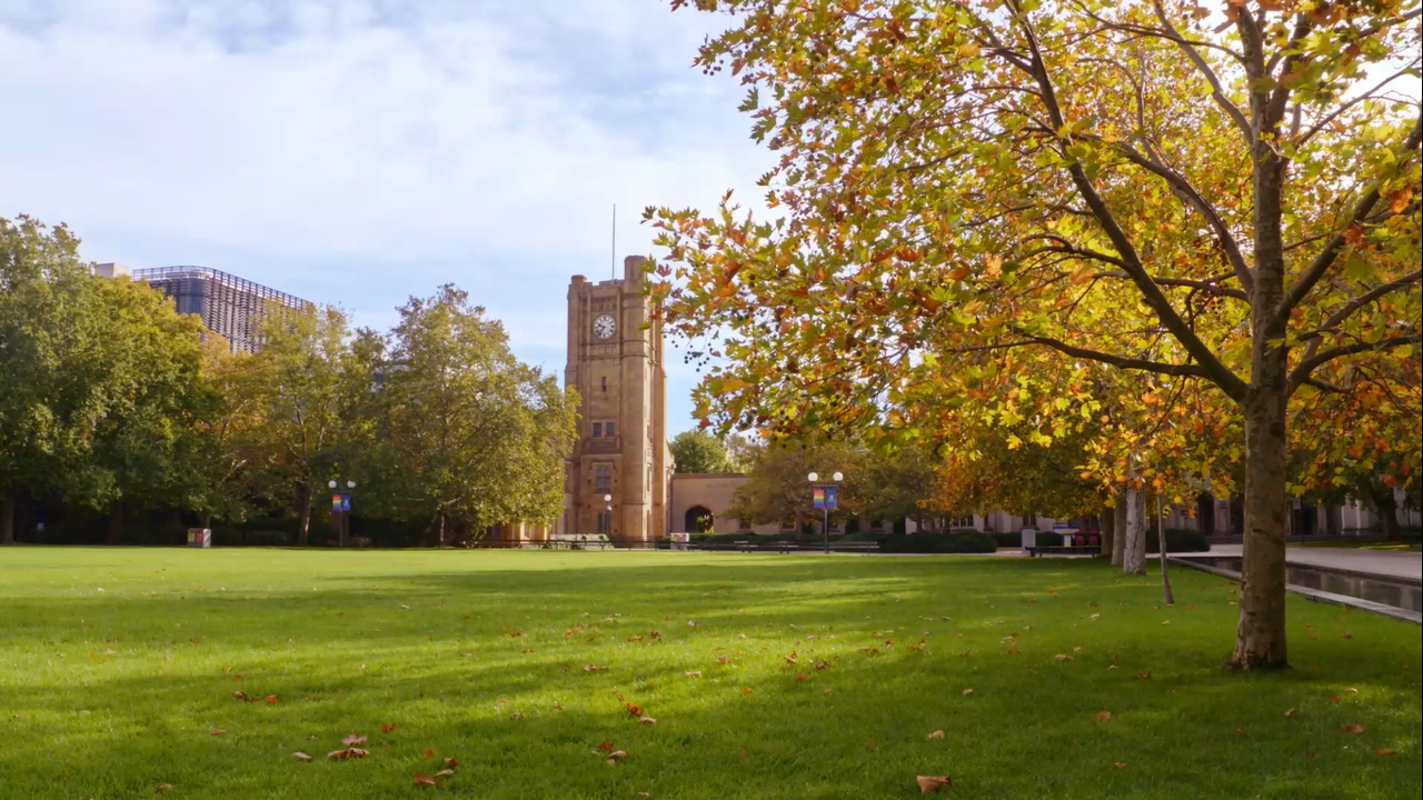 Photo of the Parkville Clock Tower from the South Lawn for zoom video background