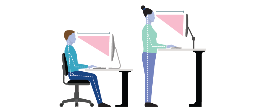 When seated at the workstation with my hands on the keyboard I can achieve the following posture: *Shoulders relaxed and symmetrical, head in midline, eyes straight ahead *Elbows close to the sides of the body *Forearms parallel to the floor *Hips slightly higher than knees *Thighs not making contact with underside of desk *Feet flat on the floor or footrest (not dangling)