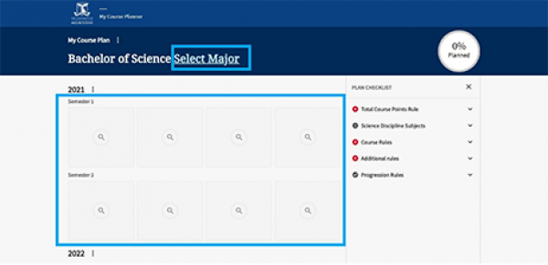 A screen shot of the 'My Course Planner' tool, with the user being able to select a major or use a blank template.