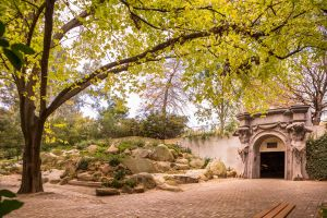 Photograph of the entrance to the Parkville Underground Carpark and South Lawn trees for Zoom background