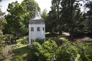 Photograph of the System gardens tower for Zoom background
