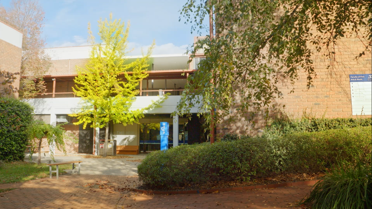 Photo of the Southbank Campus front buildings for zoom video background
